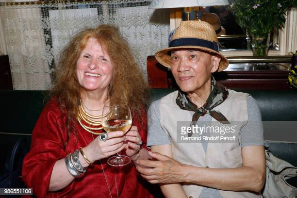 Nicole Wisniak and Tan Giudicelli attend the Tan Giudicelli Exhibition of drawings and accessories preview at Galerie Pierre Passebon on June 28 2018...