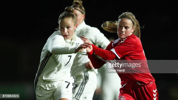 Nicole Woldmann of Germany and Lea Bjerregrav of Denmark compete for the ball during the U16 Girls international friendly match betwwen Denmark and...