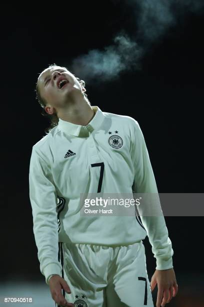 Nicole Woldmann of Germany appears frustrated during the U16 Girls international friendly match betwwen Denmark and Germany at the Skive Stadion on...