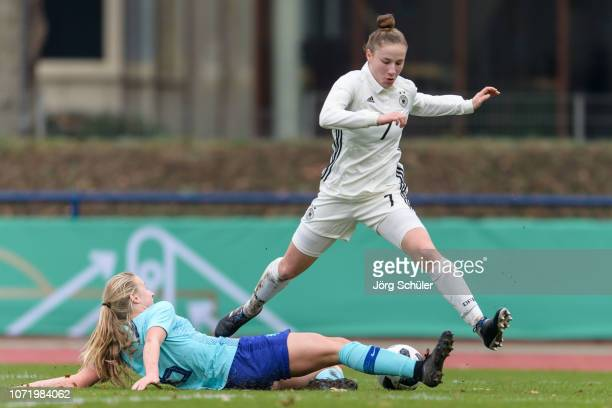 Nicole Woldmann of Germany battles for the ball with Dana Foederer of Netherlands during the U17 Girl's international friendly match between Germany...