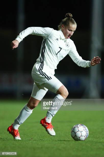 Nicole Woldmann of Germany in action during the U16 Girls international friendly match betwwen Denmark and Germany at the Skive Stadion on November 6...
