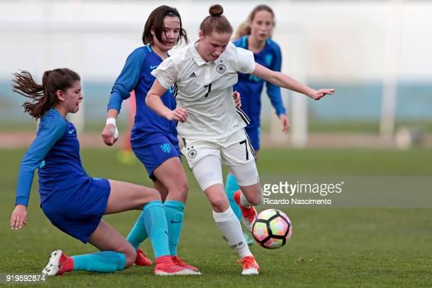 Nicole Woldmann of Girls Germany U16 challenges Zaina Bouzerrade an dBondil van den Heuvel of Girls Netherllands U16 during UEFA Development...