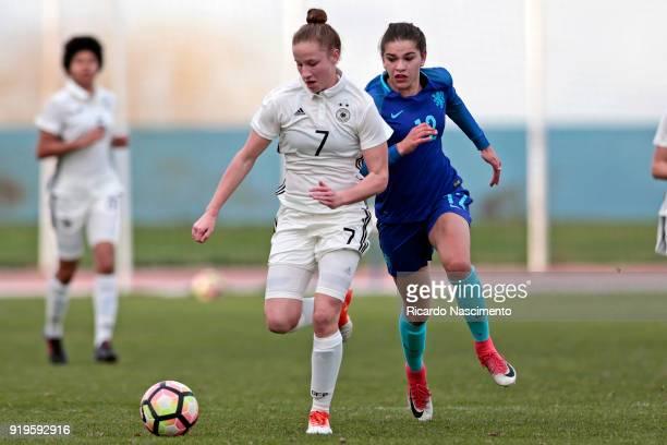 Nicole Woldmann of Girls Germany U16 challenges Zaina Bouzerrade of Girls Netherllands U16 during UEFA Development Tournament match between U16 Girls...