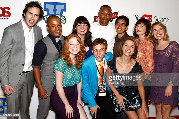 Nicole Wyland Brennan Murray Jake Rodriguez and the cast of VGHS attend Video Game High School Season 3 Premiere at YouTube Space LA on October 8...