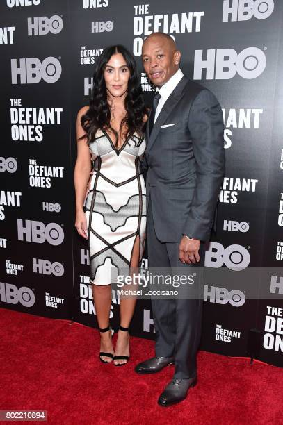 Nicole Young and Dr Dre attend 'The Defiant Ones' premiere at Time Warner Center on June 27 2017 in New York City