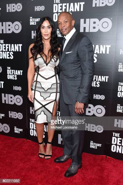 Nicole Young and Dr Dre attend The Defiant Ones premiere at Time Warner Center on June 27 2017 in New York City