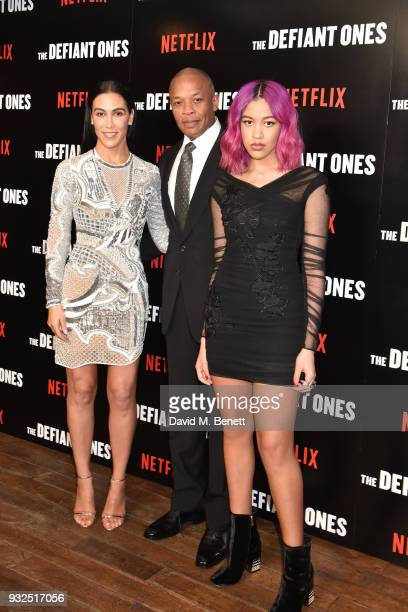 Nicole Young Dr Dre and Truly Young attend a special screening of The Defiant Ones at the Ritzy Picturehouse Brixton on March 15 2018 in London...