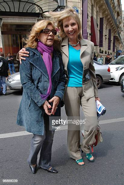 Nicoletta and Fabienne Amiach leave 'Les Salvadors de La Petanque' Press Conference at Hotel Normandy on May 6 2010 in Paris France