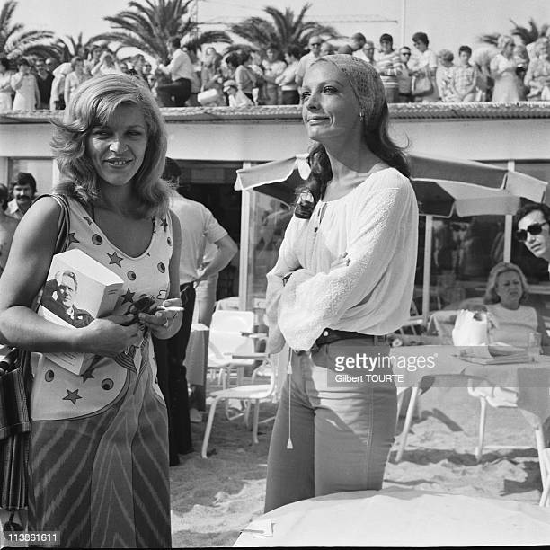 Nicoletta and Marie Laforet at Cannes Film Festival in 1971 in Cannes France
