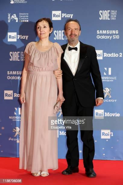 Nicoletta Braschi and Roberto Benigni attend the 64. David Di Donatello awards on March 27, 2019 in Rome, Italy.