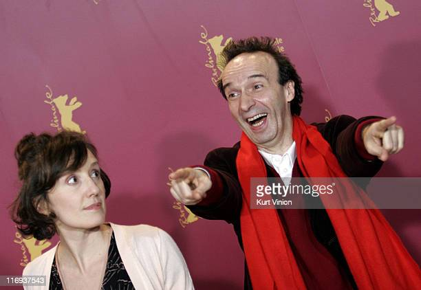 Nicoletta Braschi and Roberto Benigni during 56th Berlinale International Film Festival The Tiger and the Snow Photocall at Berlinale in Berlin...