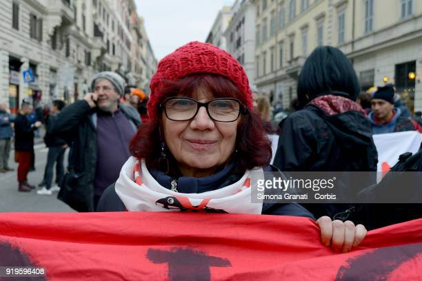 Nicoletta Dosio leader No Tav partecipates at Defend Afrin national demonstration against the Turkish bombardments in Afrin for the freedom of Ocalan...