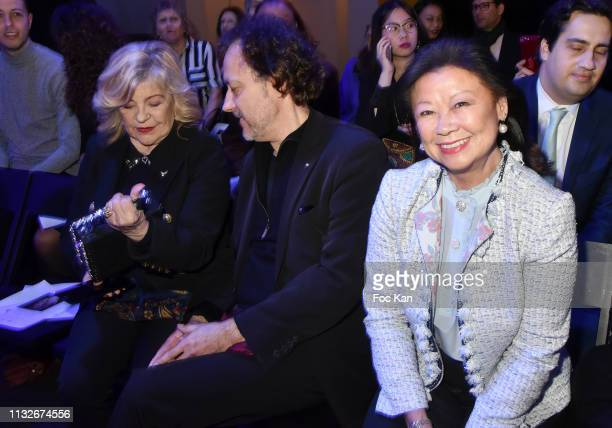 Nicoletta Jean Christophe Molinier and Jeanne D'Hauteserre attend the Christophe Guillarme show as part of the Paris Fashion Week Womenswear...