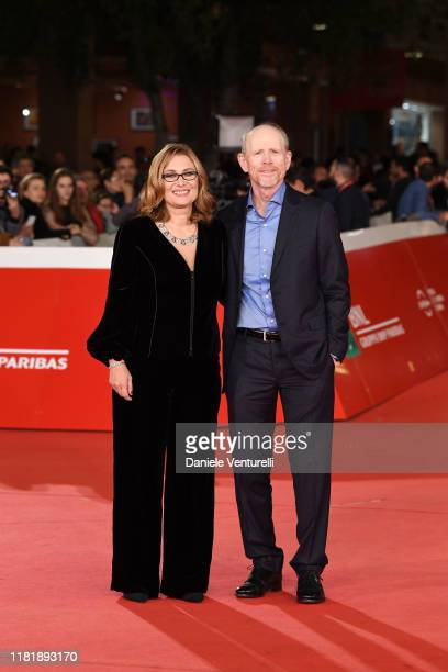 "Nicoletta Mantovani and Ron Howard attend the ""Pavarotti"" red carpet during the 14th Rome Film Festival on October 18, 2019 in Rome, Italy."