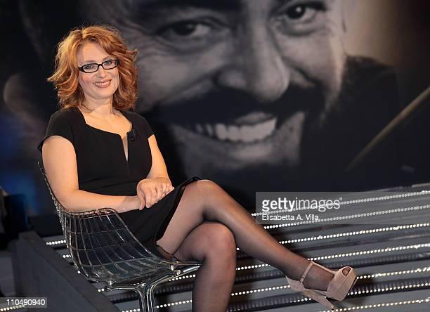 """Nicoletta Mantovani attends """"Alle Falde Del Kilimangiaro"""" TV show at the RAI Studios on March 20, 2011 in Rome, Italy."""