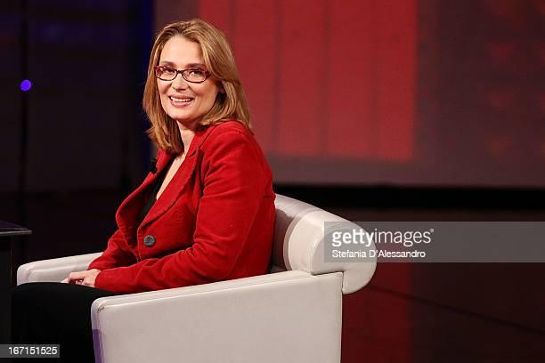 """Nicoletta Mantovani attends """"Che Tempo Che Fa"""" on April 21, 2013 in Milan, Italy."""