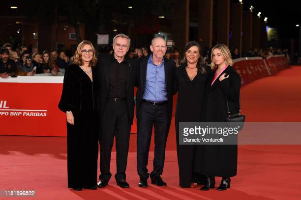 "Nicoletta Mantovani, Nigel Sinclair, Ron Howard, Giuliana Pavarotti and Caterina Lo Sasso attend the ""Pavarotti"" red carpet during the 14th Rome Film..."