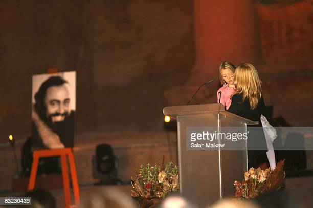 Nicoletta Mantovani Pavarotti , wife of the late Italian Maestro Luciano Pavarotti, and their doughter Alice speaks during a memorial event in honour...