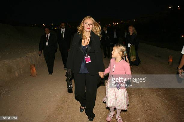 Nicoletta Mantovani Pavarotti wife of the late Italian Maestro Luciano Pavarotti holds their doughter Alice at a memorial event in honour of the late...