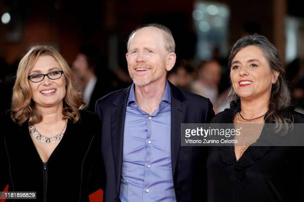 Nicoletta Mantovani Ron Howard and Giuliana Pavarotti attend the Pavarotti red carpet during the 14th Rome Film Festival on October 18 2019 in Rome...