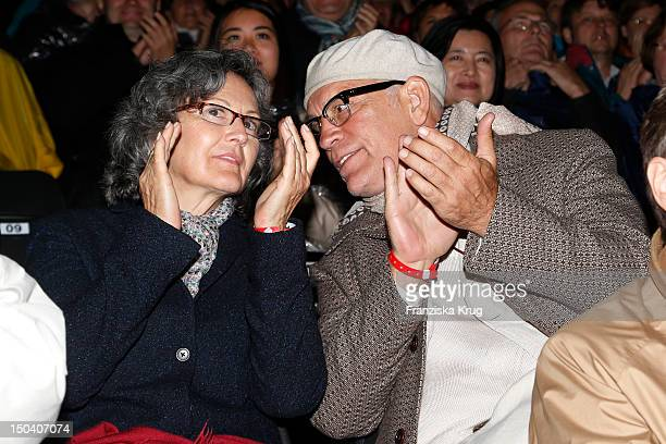 Nicoletta Peyran and her husband John Malkovich attend the 'Seefestspiele' Open With Carmen in the Wannseebad on August 16 2012 in Berlin Germany
