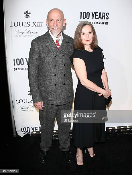Nicoletta Peyran and John Malkovich attend Louis XIII Celebration of '100 Years' The Movie You Will Never See starring John Malkovich at a private...