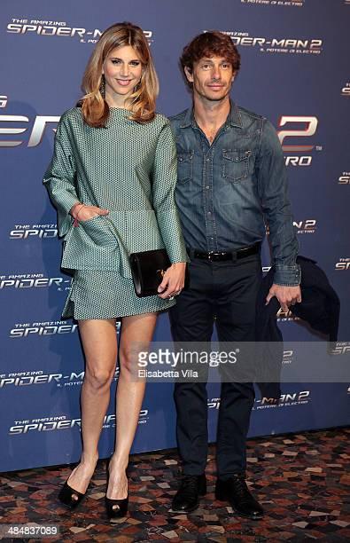 Nicoletta Romanoff, left. And Giorgio Pasotti attends 'The Amazing Spider-Man 2: Rise Of Electro' Rome Premiere at The Space Moderno Cinema on April...