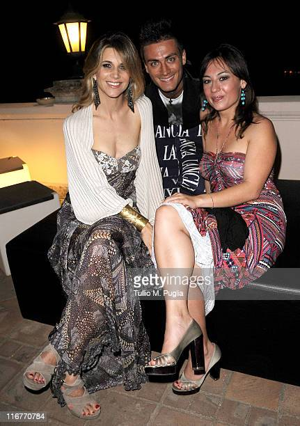 Nicoletta Romanoff Thomas Grazioso and Costanza D'Ardia attend a cocktail party hosted by the Lancia Cafe during the 57th Taormina Film Fest on June...