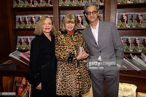 Nicoletta Santoro Anne McNally and Max Vadukul attend the The House of Thurn Und Taxis book launch at the Rizzoli Bookstore NYC on December 8 2015 in...