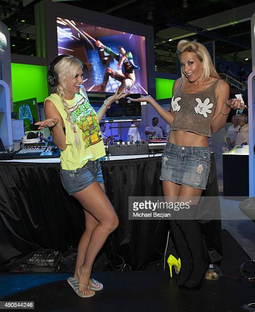 Nicolette Nightingale and DJ Amie Rose attend 2014 E3 Electronic Entertainment Expo Day 3 at Los Angeles Convention Center on June 12 2014 in Los...