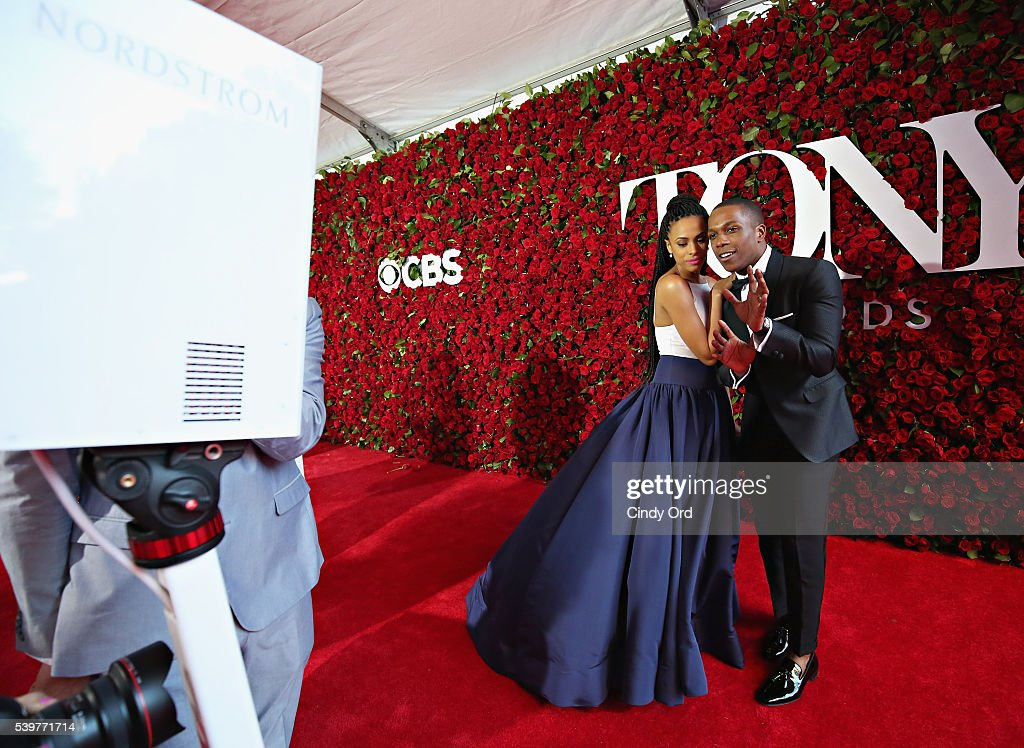 Nicolette Robinson (L) and Leslie Odom Jr. attend the 70th Annual Tony Awards at The Beacon Theatre on June 12, 2016 in New York City.