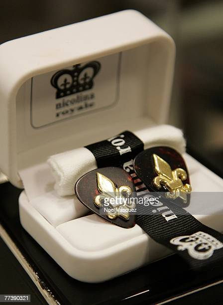 Nicolina Royale cufflinks are displayed at the launch of City Nights Playboy Menswear Collection at Bloomingdales on October 17 2007 in Century City...