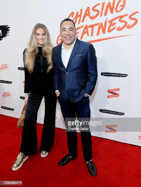 Nicoline Arturssona and Tim Storey attend Lewis Howes Documentary Live Premiere Chasing Greatness at Pacific Theatres at The Grove on February 12...