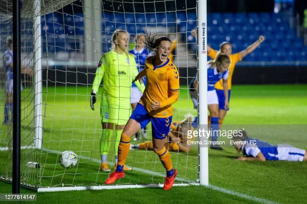Nicoline Sorensen of Everton celebrates scoring her team's second goal during the Vitality Women's FA Cup Semi Final match between Birmingham City...