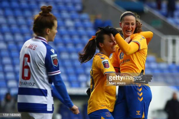 Nicoline Sorensen of Everton celebrates scoring the equalising goal with team mates during the Barclays FA Women's Super League match between Reading...