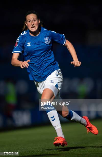 Nicoline Sorensen of Everton in action during the Womens FA Cup Quarter Final match between Everton FC and Chelsea FC at Goodison Park on September...