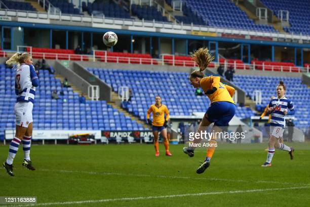 Nicoline Sorensen of Everton scores the equalising goal during the Barclays FA Women's Super League match between Reading Women and Everton Women at...