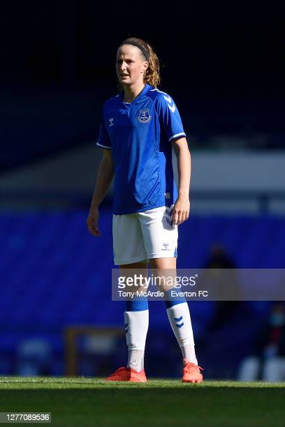 Nicoline Sorensen of Everton Women during the Women's FA Cup Quarter Final match between Everton and Chelsea at Goodison Park on September 27 2020 in...