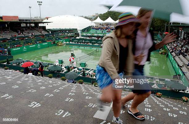 Nicolle and Michelle Gate from Howick get out of the rain as play is delayed at the Heineken Open played at the ASB Tennis Centre Wednesday