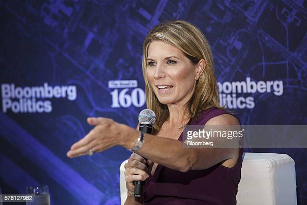 Nicolle Wallace political commentator and former White House communications chief speaks during a Bloomberg Politics panel with David Plouffe chief...