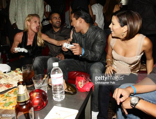 """Nicollette Sheridan, Tony Parker, Mario Lopez and Eva Longoria Parker during the VIP Launch Party of EA Sports """"NBA Live '09"""" hosted by Tony Parker..."""
