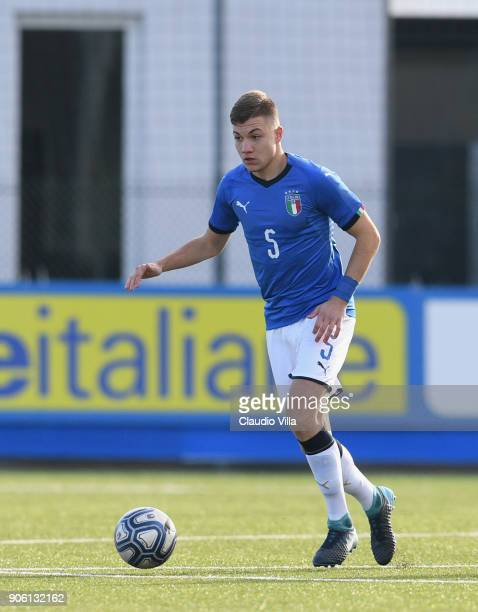Nicolo Armini of Italy in action during the U17 International Friendly match between Italy and Spain at Juventus Center Vinovo on January 17 2018 in...