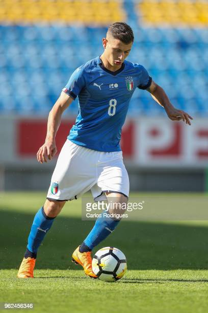 Nicolo Barella during the International Friendly match between Portugal U21 and Italy U21 at Estadio Antonio Coimbra da Mota on May 25 2018 in...