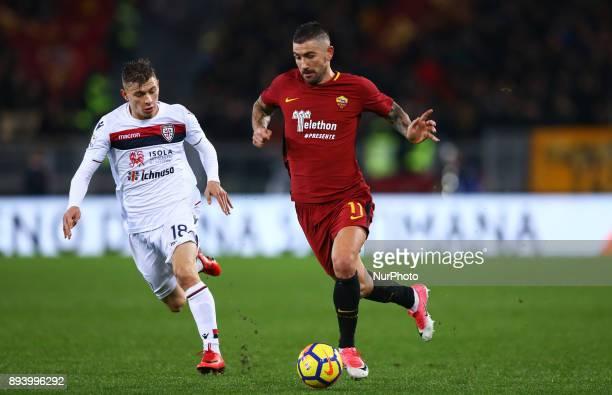 Nicolo Barella of Cagliari and Aleksandar Kolarov of Roma during the Italian Serie A football match Roma vs Cagliari on December 16 2017 at the...
