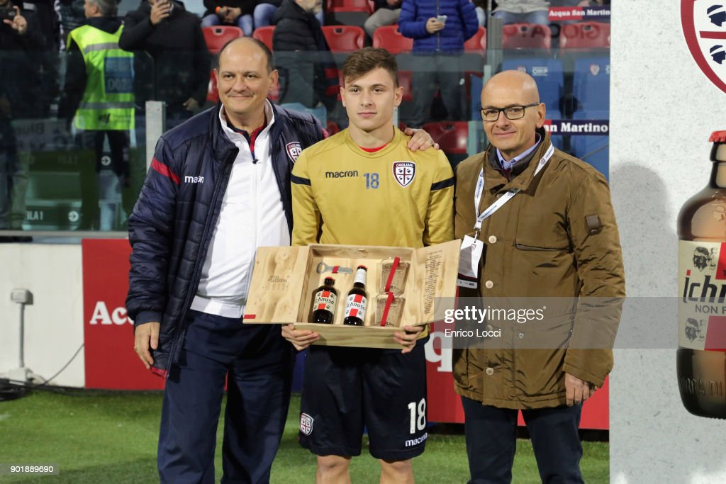 Nicolo Barella of Cagliari awarded by the sponsor Ichnusa Beer during the Serie A match between Cagliari Calcio and Juventus at Stadio Sant'Elia on January 6, 2018 in Cagliari, Italy.