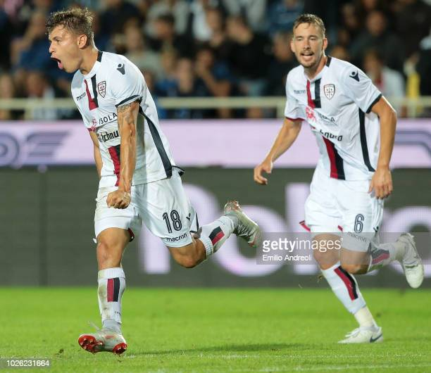 Nicolo Barella of Cagliari Calcio celebrates after scoring the opening goal during the serie A match between Atalanta BC and Cagliari at Stadio...