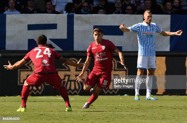 Nicolo Barella of Cagliari Calcio celebrates after scoring the opening goal during the Serie A match between Spal and Cagliari Calcio at Stadio Paolo...