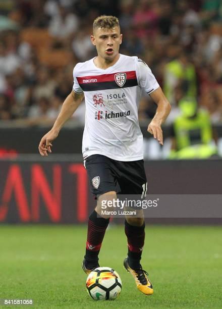 Nicolo Barella of Cagliari Calcio in action during the Serie A match between AC Milan and Cagliari Calcio at Stadio Giuseppe Meazza on August 27 2017...