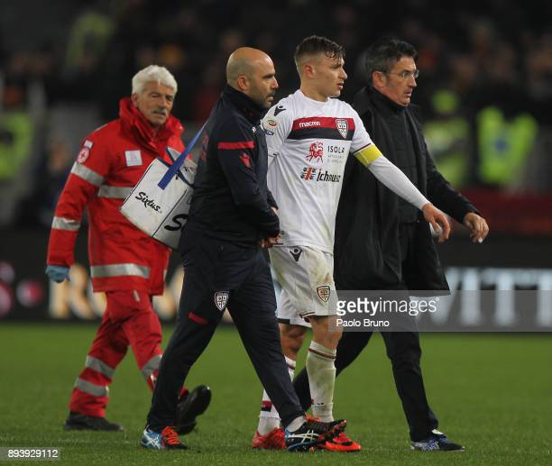 Nicolo' Barella of Cagliari Calcio is injured during the Serie A match between AS Roma and Cagliari Calcio at Stadio Olimpico on December 16 2017 in...