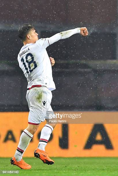 Nicolo Barella of Cagliari celebrates after scoring a goal on a penalty kick during the serie A match betweenGenoa CFC and Cagliari Calcio at Stadio...